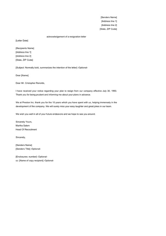 Acknowledgement Of A Resignation Letter Template Sample