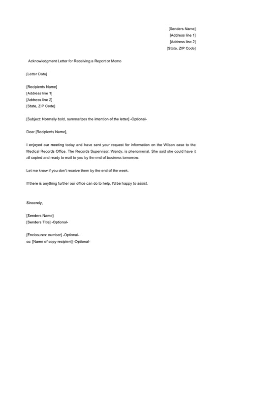 Acknowledgment Letter For Receiving A Report