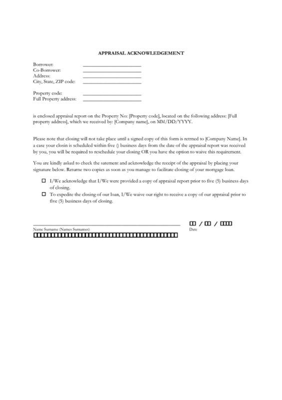 Appraisal Acknolwedgement Letter Sample Pdf Format