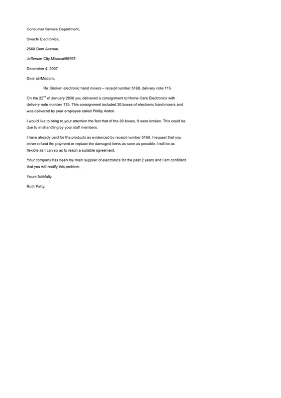 Business Complaint Letter Template To Electronics