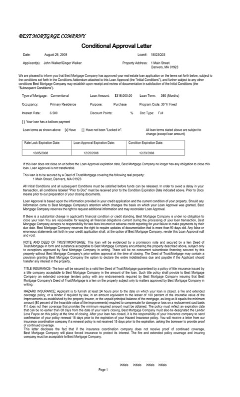 Conditional Approval Letter