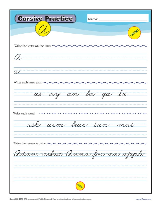 Cursive Writing Practice Template Example Format
