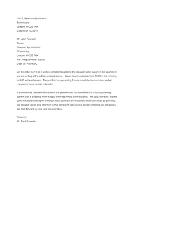 Discrimination Complaint Letter Template To Assistant