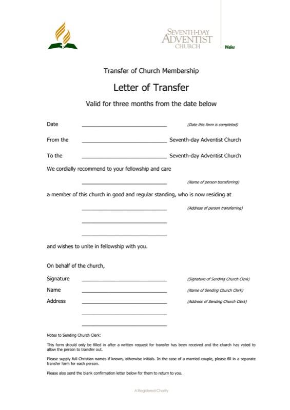 Sample Transfer Letter Of Church Membership