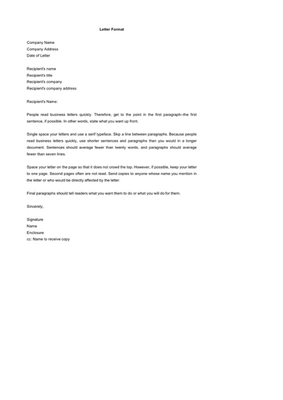 Editable Company Letter Format Word Doc