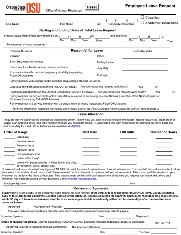 Employee Sample Leave Request Write Up Template