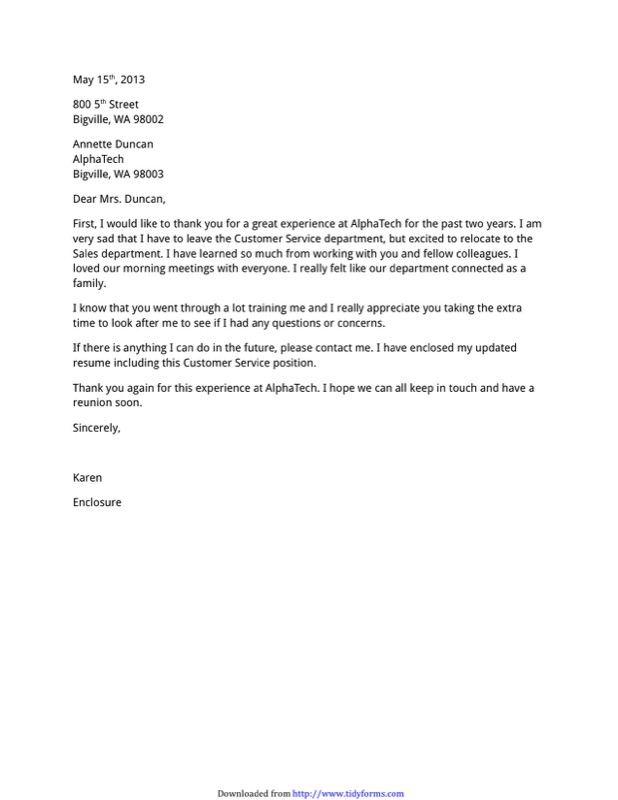 Example Farewell Letter Job Manager