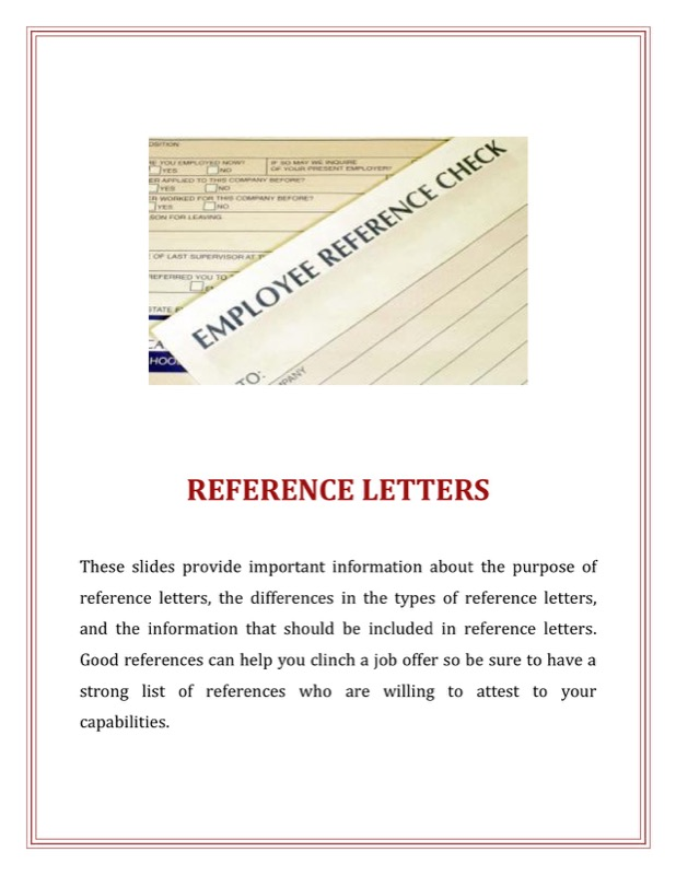 Format For A Reference Letter For Professional