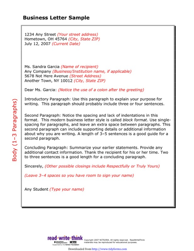 Friendly Letter Sample 2