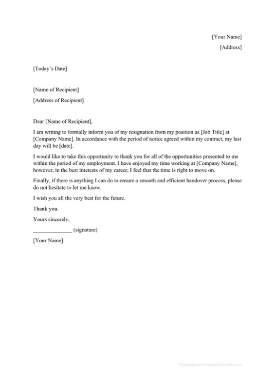 Job Contract Resignation Letter