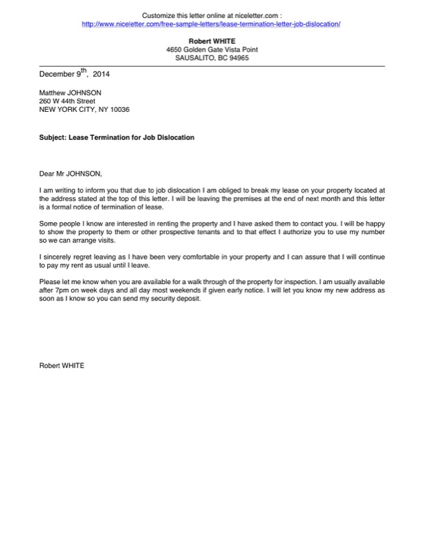 Job Dislocation Lease Letter Of Termination Printable