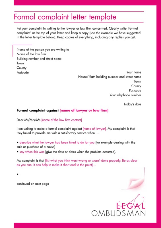 Legal Formal Complaint Letter Template Pdf Printable