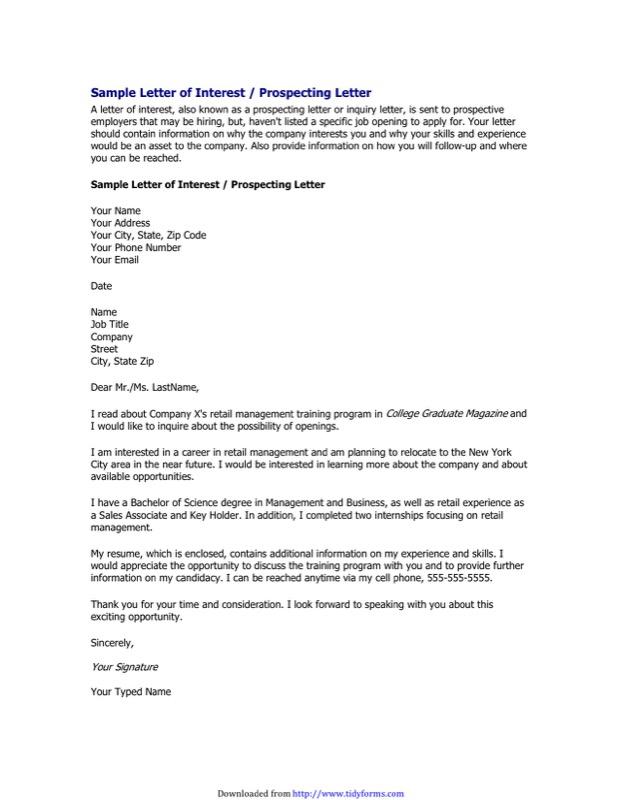 Letter of Interest for Job