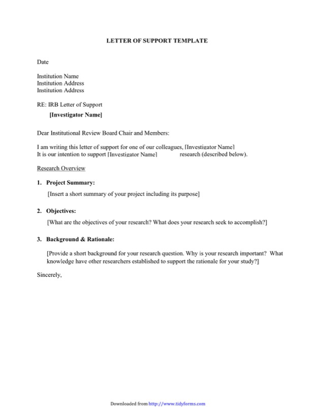 Letter of Support Template 2