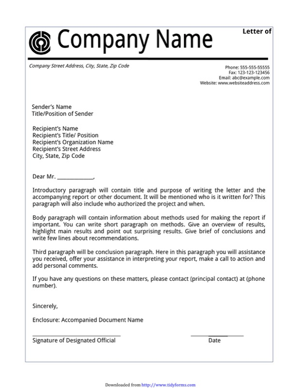 Letter of Transmittal Example 1