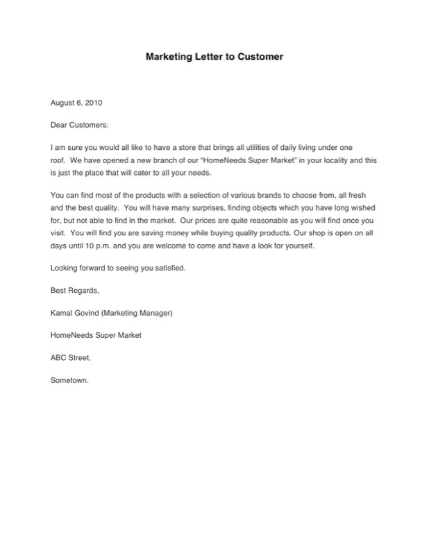 Marketing Letter To Customer