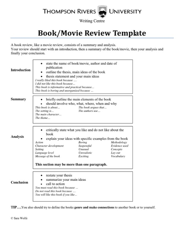 Movie Book Writing Review Template Example
