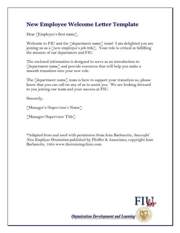 New Employee Sample Welcome Letter Write Up Template