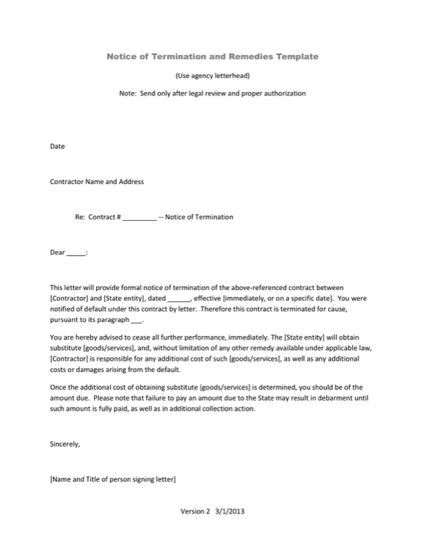 Notice Of Service Termination Letter Letter Template Pdf