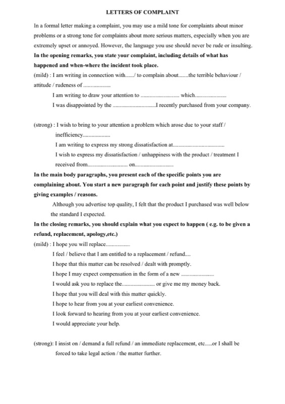 Official Complaint Letter