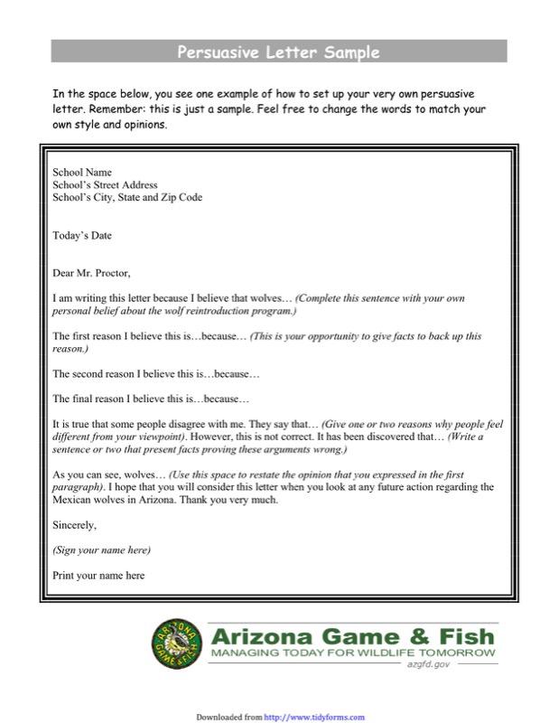 Persuasive Letter Sample