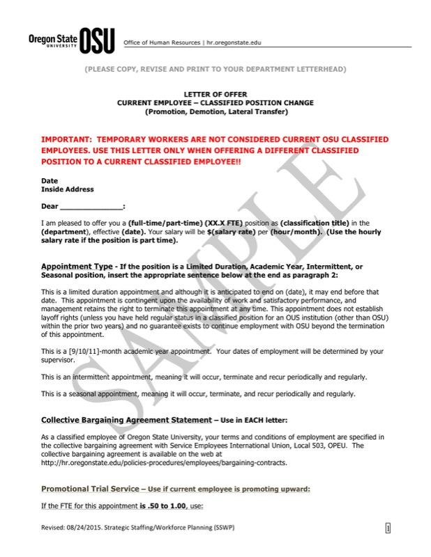 Position Transfer Letter Template