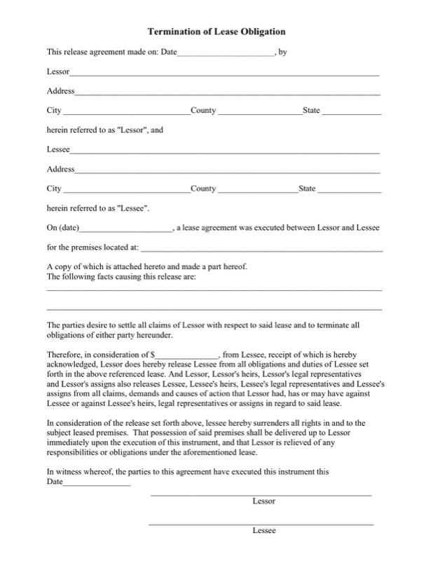 Printable Termination Of Lease Obligation Pdf