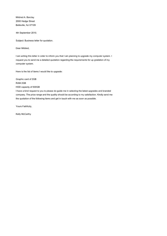 Quotation Format Letter For Business Free Word Format