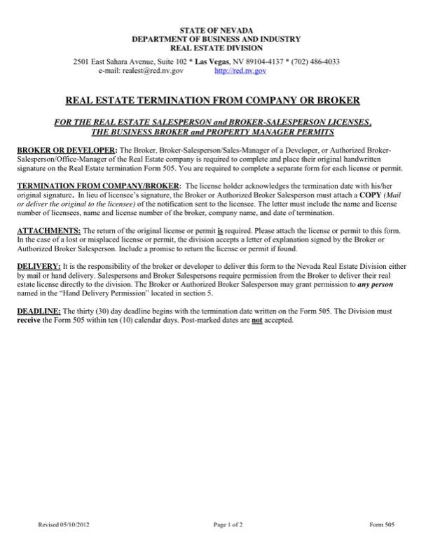 Real Estate Termination Letter