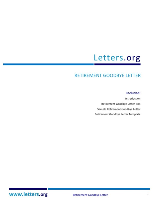 Retirement Goodbye Letter