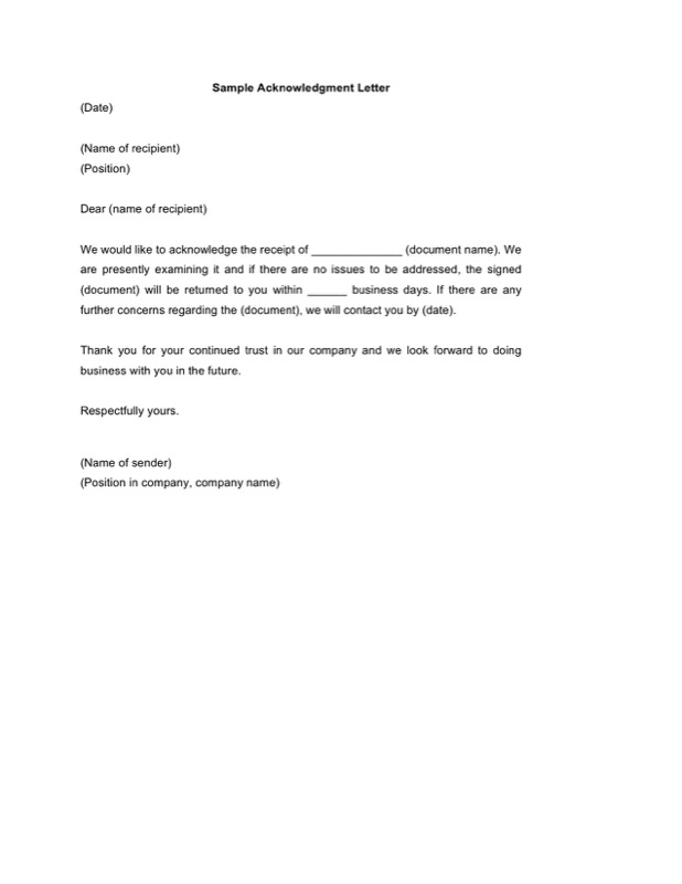 Sample Acknowledgment Letter