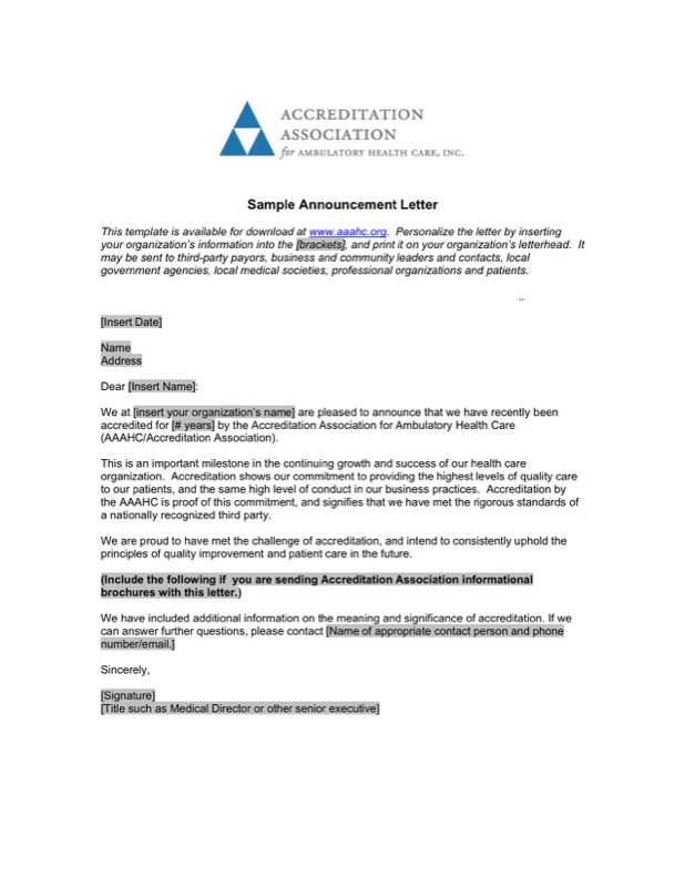 Sample Announcement Letter