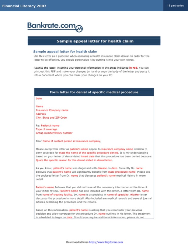 Sample Appeal Letter For Health Claim