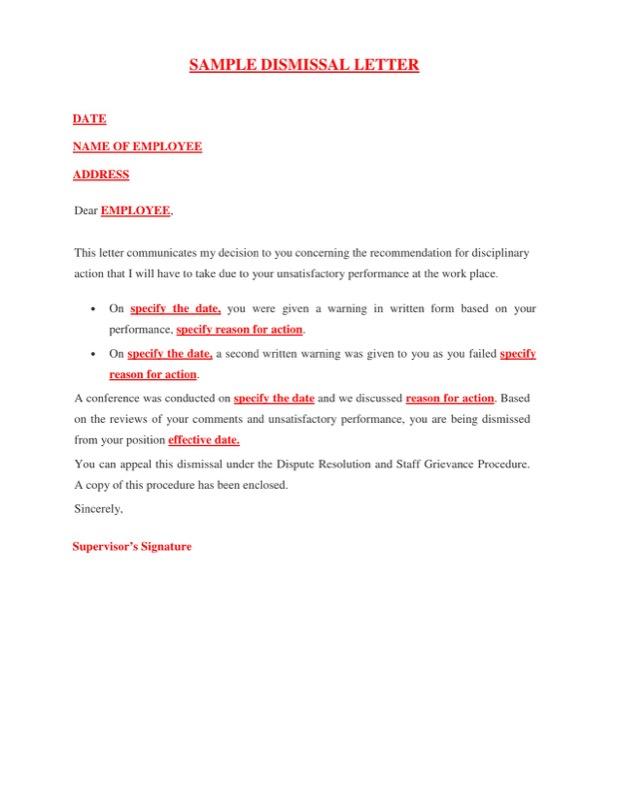 Sample Dismissal Letter