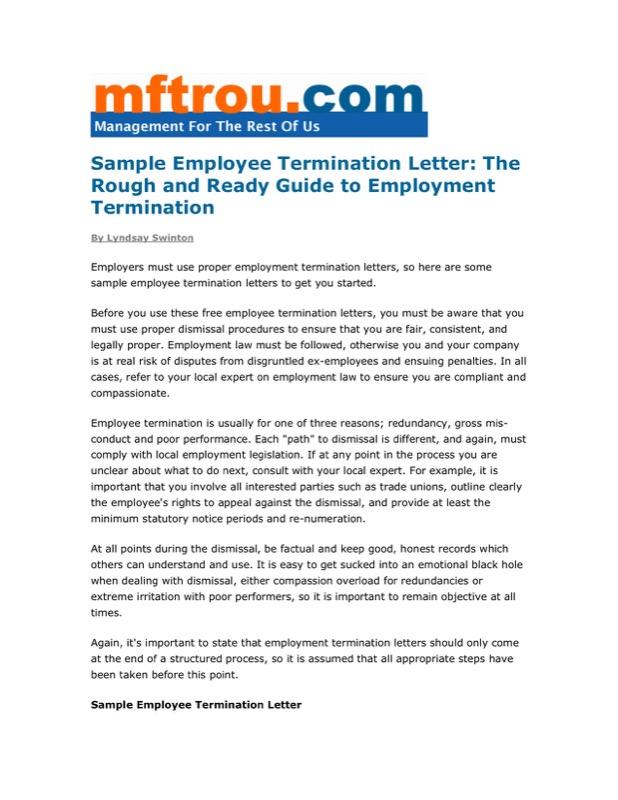 Sample Employee Termination Letter