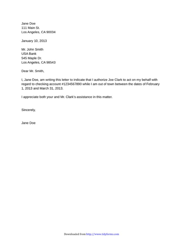 Sample Financial Authorization Letter