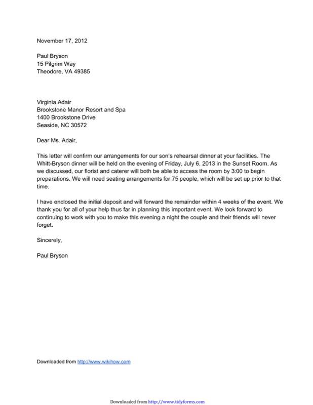 Sample Formal Confirmation Letter