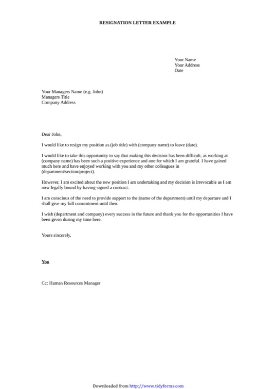 Sample Letter of Resignation 3