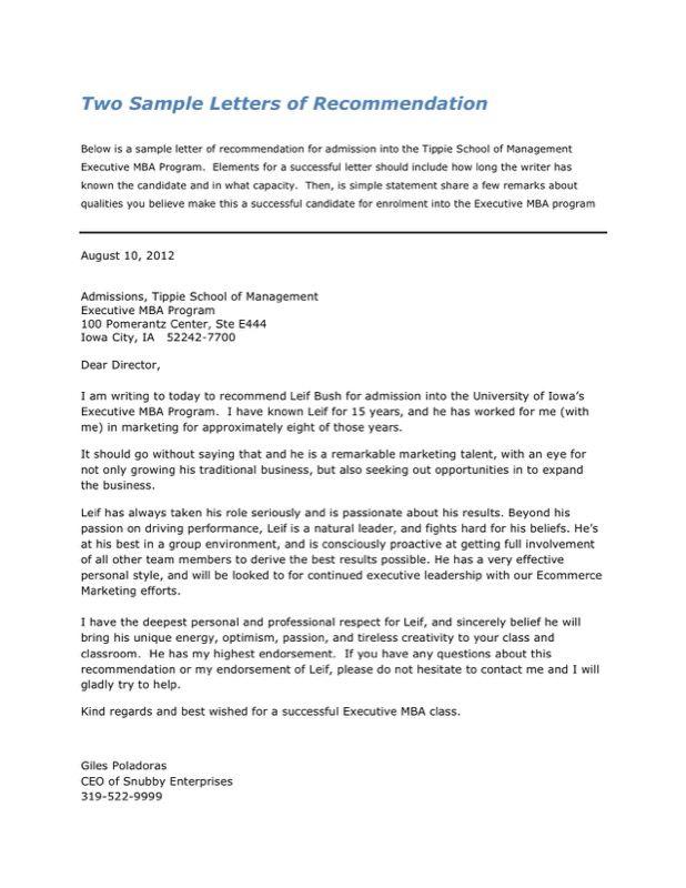 Sample Letters of Recommendation
