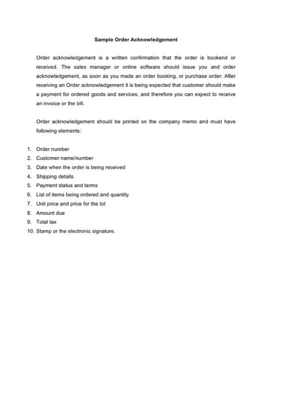 Sample Order Acknowledgement