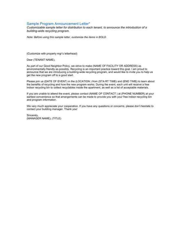 Sample Program Announcement Letter