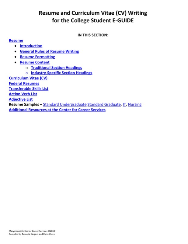Sample Resume Writing Template For College Students