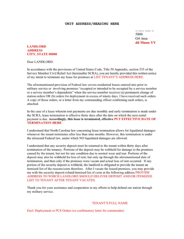 Sample Scra Lease Termination Letter Template Word Doc