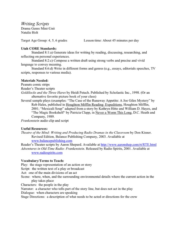 Download Example Format Commercial Script Writing Template for Free
