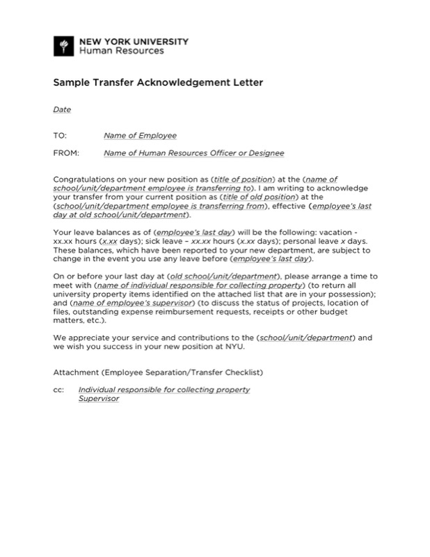 Sample Transfer Acknowledgement Letter Template Pdf