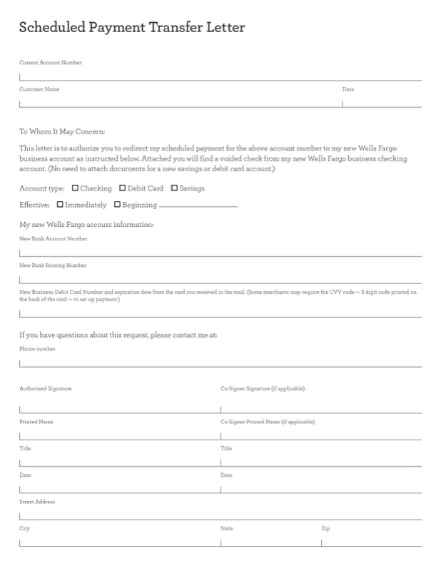 Scheduled Payment Transfer Letter Template Editable Pdf