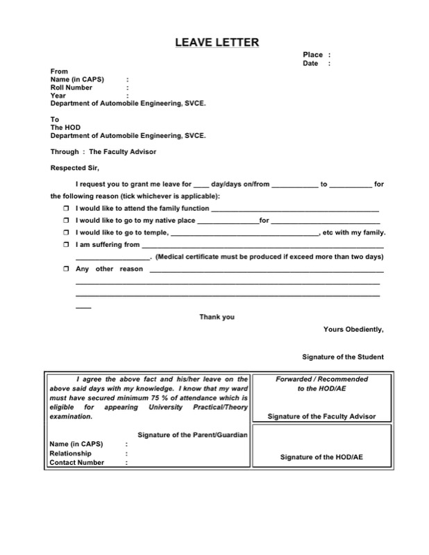 Sick Leave Letter Template