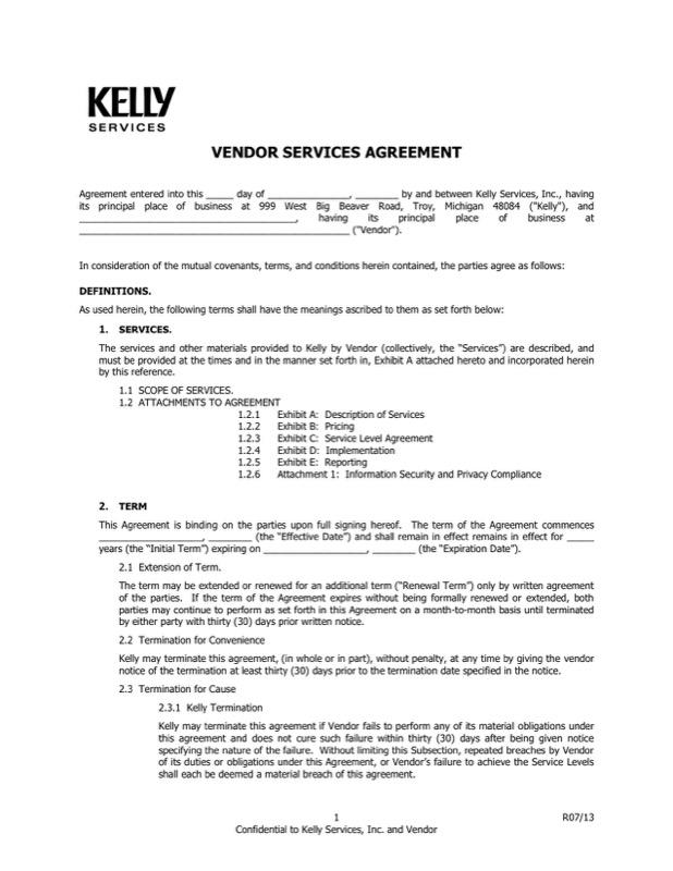Vendor Service Agreement Letter Free Pdf